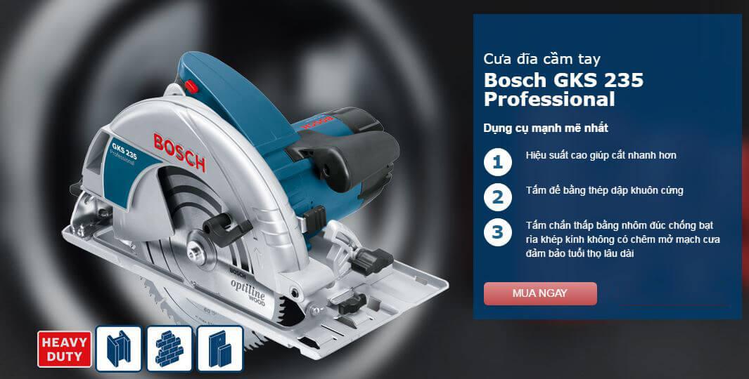 Các đặc điểm nổi bật của máy cưa đĩa cầm tay Bosch GKS 235 turbo