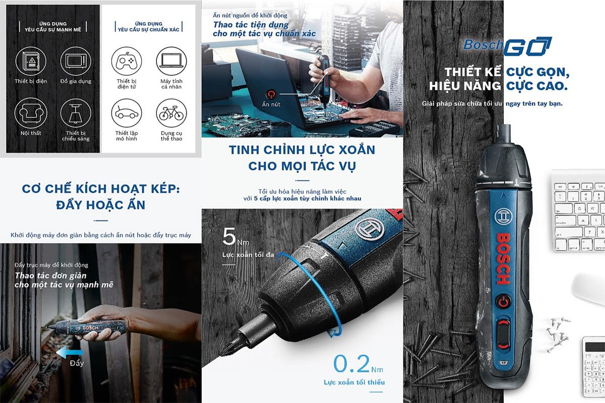 Tính ứng dụng thực tế cao của dòng máy vặn vít Bosch GO GEN 2