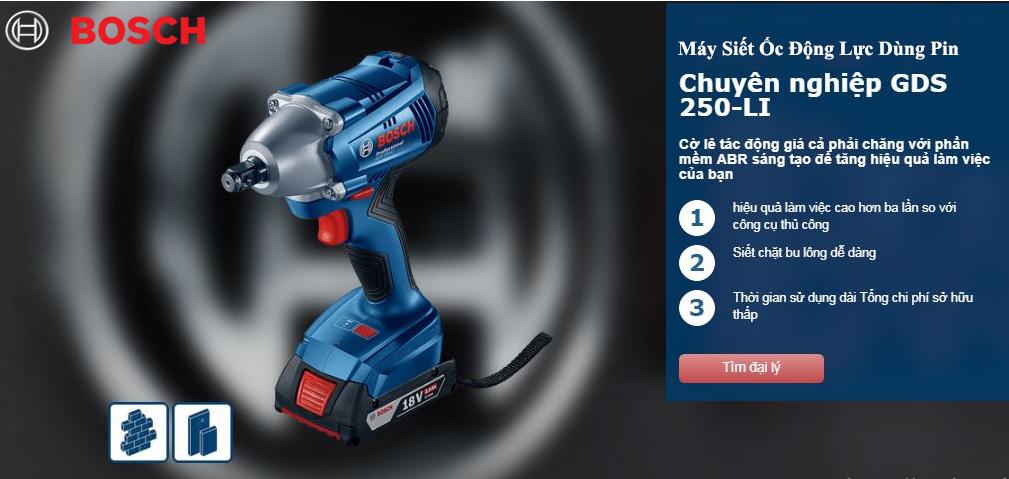 Đặc điểm nổi trội của dòng máy siết ốc dùng pin Bosch GDS 250 Professional