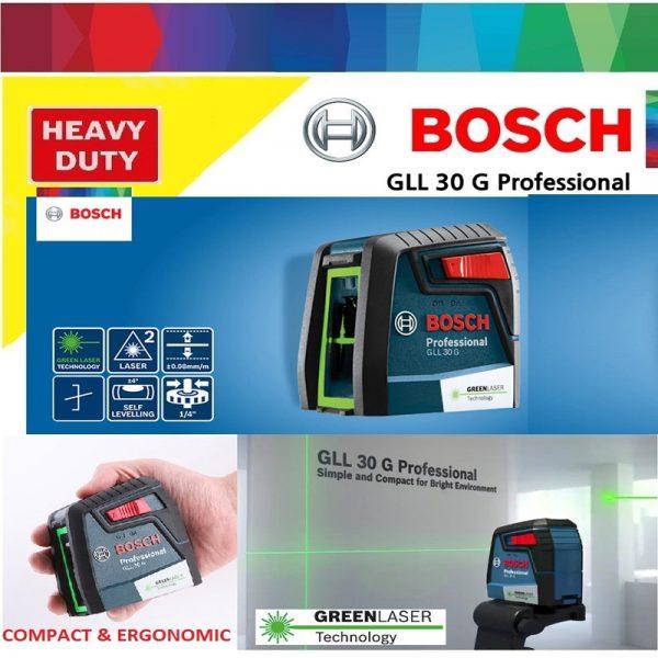 Máy cân mực laser tia xanh Bosch GLL 30 G Professional cho hiệu quả cao trong công việc