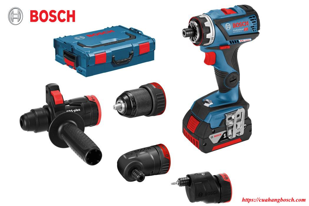 Trọn bộ sản phẩm máy khoan bắt vít Bosch GSR 18v-60 và các phụ kiện đi kèm