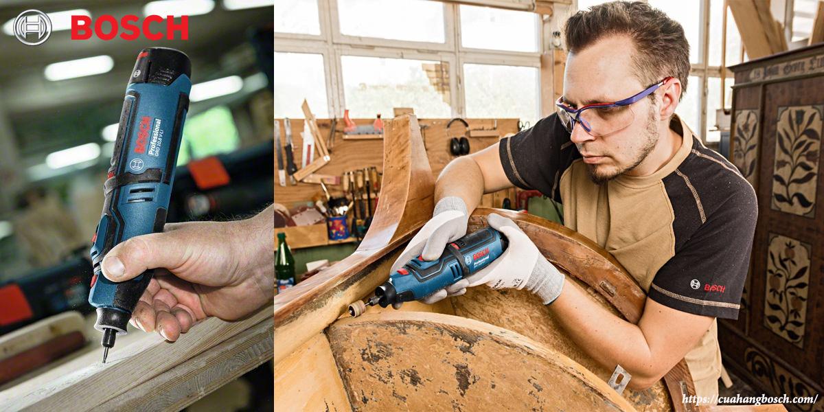 Hình ảnh thi công ngoài thực tế của dòng máy cắt xoay Bosch GRO 12v-35