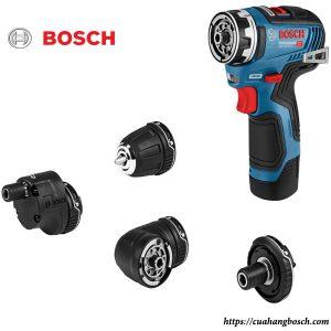 Trọn bộ máy khoan vặn vít dùng pin Bosch GSR 12V 15-FC cùng các phụ kiện đi kèm