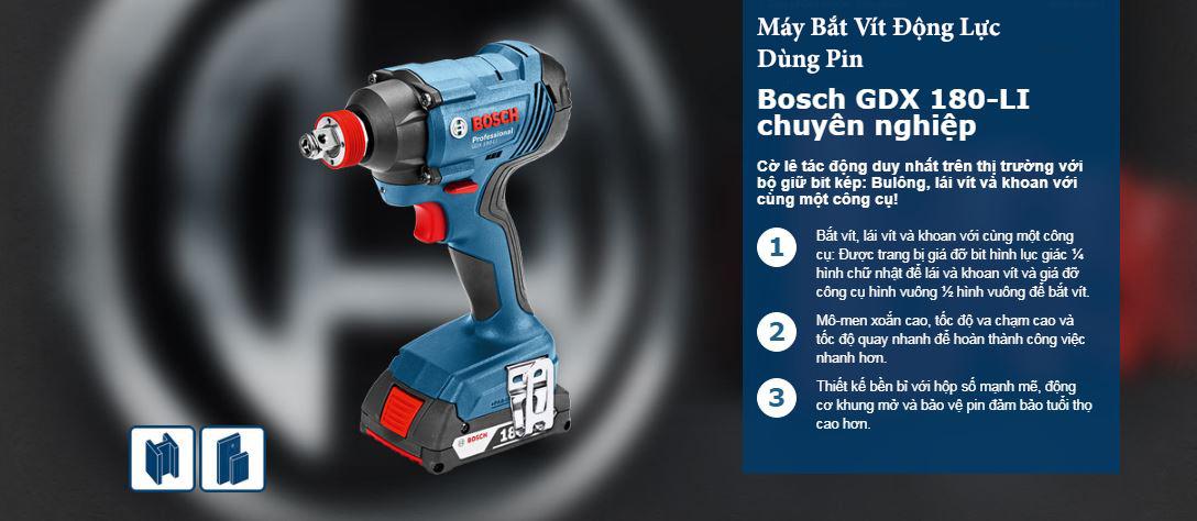 Đặc tính nổi bật của dòng máy bắt vít động lực Bosch GDX 180 LI