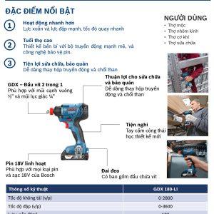 Đặc tính nổi trội và thông tin chi tiết của dòng máy siết ốc Bosch GDX 180 LI
