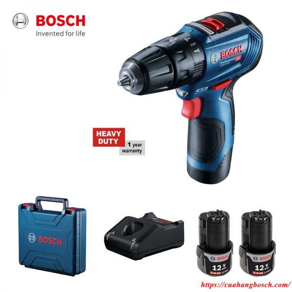 Trọn bộ máy khoan bắt vít động lực dùng pin Bosch GSB 12V-30