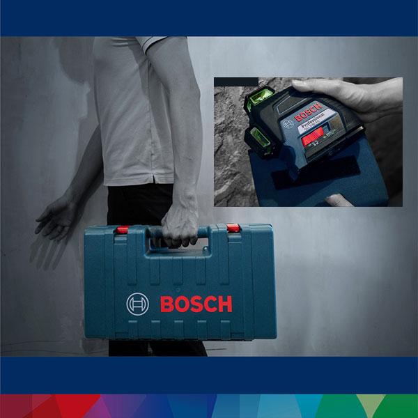 Máy cân mực Bosch GLL 3-80 XG tiện lợi với hộp nhựa chắc chắn