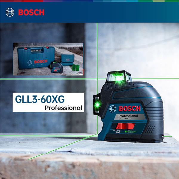 Máy cân mực laser xanh Bosch GLL 3-80 XG cho tính ứng dụng thực tế cao