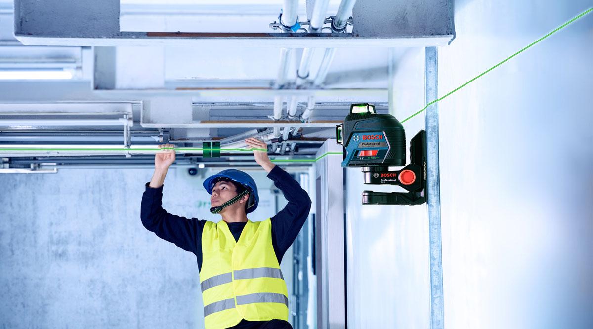 Máy cân mực laser xanh Bosch GLL 3-80 XG hỗ trợ tối đa các công việc tầm cao