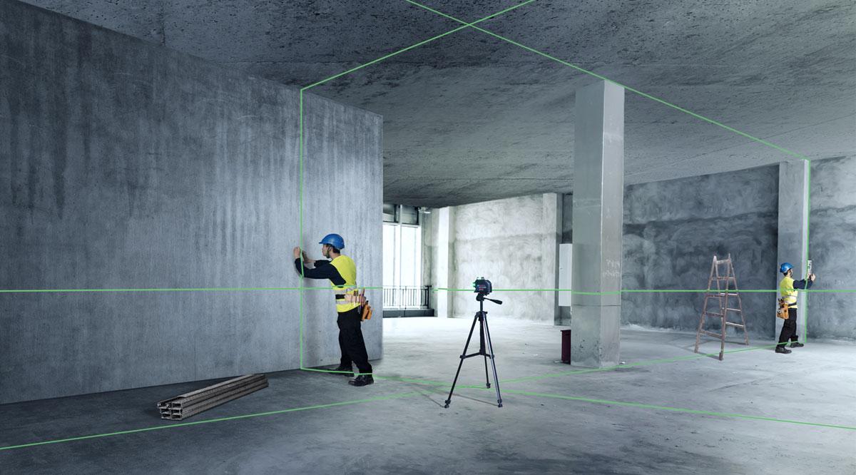Máy cân mực laser xanh Bosch GLL 3-80 XG hữu ích trong các ứng dụng phạm vi lớn